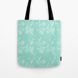 white flowers on blue background ( https://society6.com/totalflora/collection Tote Bag