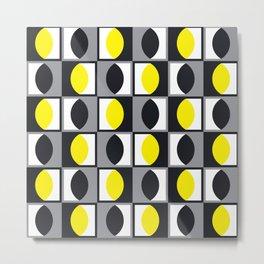 Geometric Pattern 216 (yellow gray curves) Metal Print