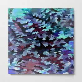 Foliage Abstract Camouflage In Aqua Blue and Black Metal Print