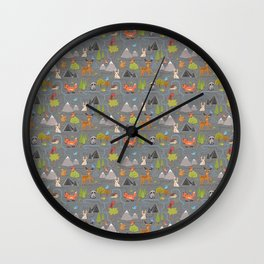 Forest Cute Animals and Birds Pattern Wall Clock