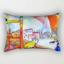 'Paris Through the Window - Eiffel Tower, Seine, & Left Bank' landscape painting by Marc Chagall Rectangular Pillow