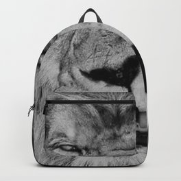 Grouchy Lion being kissed by brunette girl black and white photography Backpack