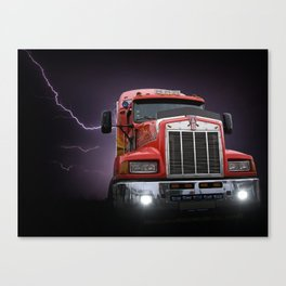 Red truck lightning bolt poster Canvas Print