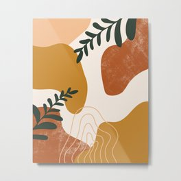 Abstract Shapes And Leaves Metal Print