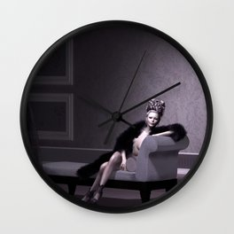Beautiful courtesan in her lavender salon Wall Clock
