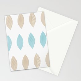 Pastel leaves blue and tan palette Stationery Cards