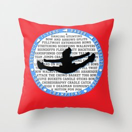 cheer blue on red Throw Pillow