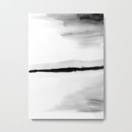 Black and White Watercolor Landscape Metal Print