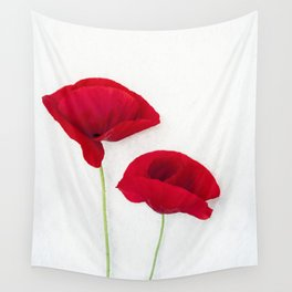 Two Red Poppies Wall Tapestry