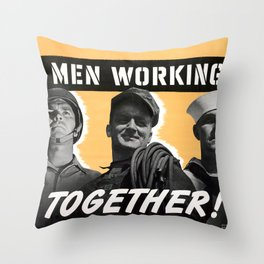 Men Working Together Throw Pillow