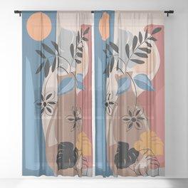 Abstract botanical art Sheer Curtain
