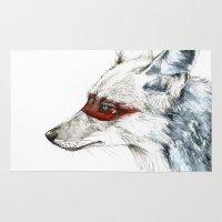 coyote Area & Throw Rugs featuring Coyote I by Susana Miranda ilustración