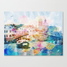 Watercolor cityscape painting - Venice, Italy Canvas Print