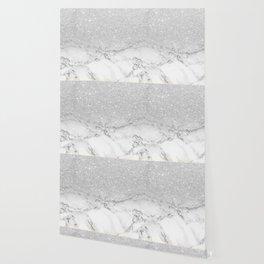 Modern faux grey silver glitter ombre white marble Wallpaper