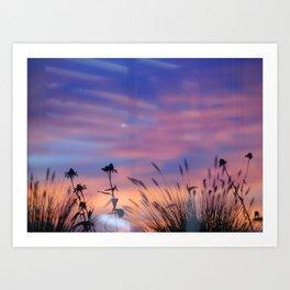 LOOK OUTSIDE - Flowers & Sunset #1 #art #society6 Art Print