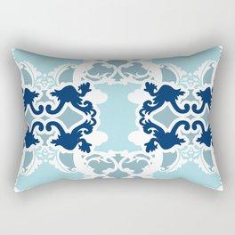 Bold damasks with chic floral designs Blue. Rectangular Pillow