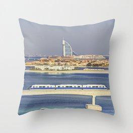 Burj Al Arab and Palm Jumeirah Monorail Throw Pillow