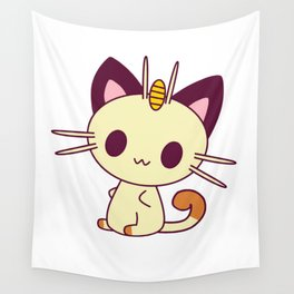 Kawaii Chibi Cat Meowth Wall Tapestry