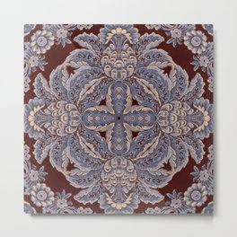 Kaleidoscope No.17 - Puce and Blue Tapestry Version 2 Metal Print