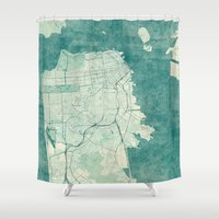 san francisco map Shower Curtains featuring San Francisco Map Blue Vintage  by City Art Posters