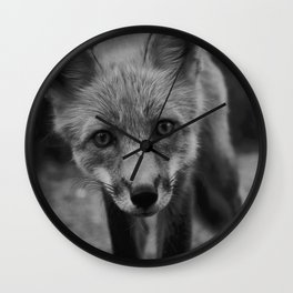 The Fox (Black and White) Wall Clock