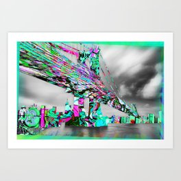 New York City Manhattan Bridge Pure Pop Green Art Print