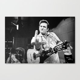 Johnny#Cash Flipping the Bird Premium Paper Poster Canvas Print