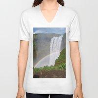 iceland V-neck T-shirts featuring Skogafoss Iceland by seraphina