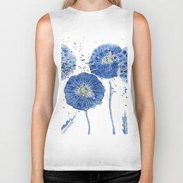 four blue dandelions watercolor Biker Tank