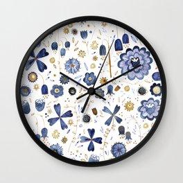 Indigo Flower Mashup Wall Clock