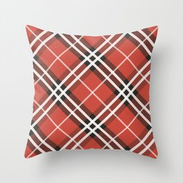 Plaid Pattern In Red Tones Throw Pillow