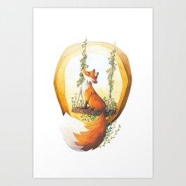 Fox on a swing Art Print