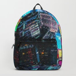 Times Square New York City Neon Lights Nighttime Landscape Painting by Jeanpaul Ferro Backpack