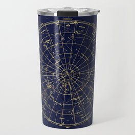 Metallic Gold Vintage Star Map 2 Travel Mug