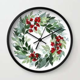 Holly Berry Wall Clock