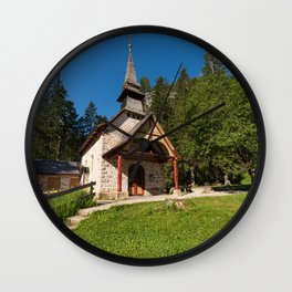 Small church surrounded by nature under the Seekofel Wall Clock