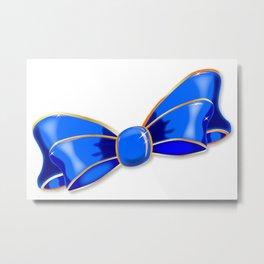 Blue Silk Bow Metal Print