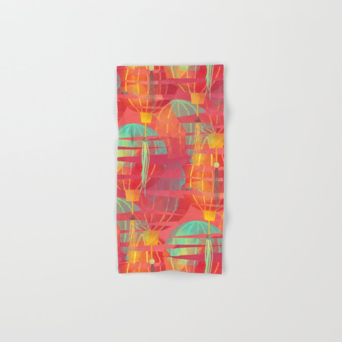 Watercolor Paper Lanterns on Pink Hand & Bath Towel
