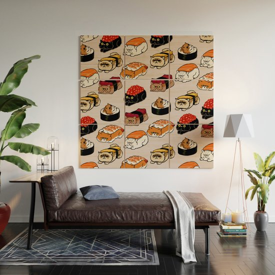 Sushi Persian Cat Wood Wall Art by huebucket | Society6