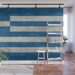 Greek Flag - vintage retro style Wall Mural