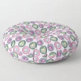 Green and purple dotted watercolor pattern Floor Pillow