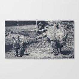 Black and White Photo of Rhinoceros Canvas Print