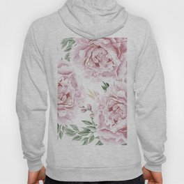 Coral Watercolor Roses Hoody
