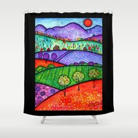 north carolina Shower Curtains featuring Landscape - Boone, North Carolina by Karen Hickerson