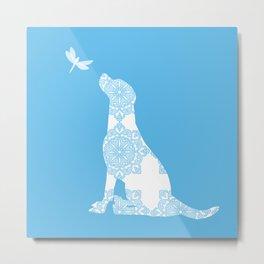 Labrador Retreiver Dog On Blue Colour Metal Print