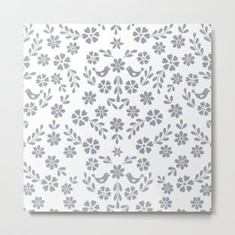 Silver gray symmetric floral bird heart Metal Print