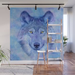 Sky blue wolf with Golden eyes Wall Mural