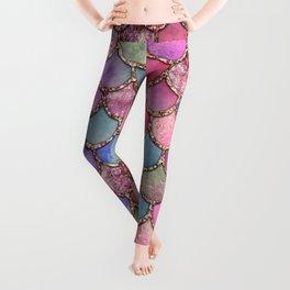 Colorful Pink Mermaid Scales Leggings