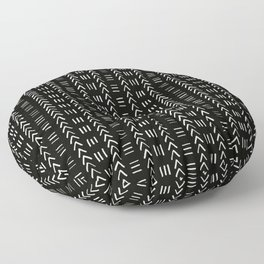 Mudcloth No.2 in Black + White Floor Pillow