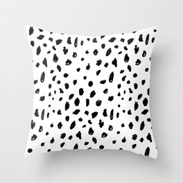 Black geometrical hand painted polka dots confetti pattern Throw Pillow